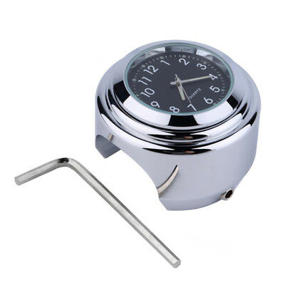 "7/8"" Handlebar Chrome Motorcycle Dial Clock Thermometer For Harley Honda Yamaha"