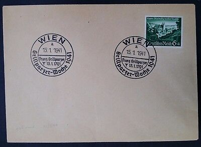 SCARCE 1941 Germany Cover ties 6+4 Pfg stamp 150th Anniv Franz Grillparzer cache