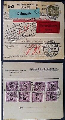 1929 Germany Express Consignment Card ties 9 stamps canc Frankfurt to Basel