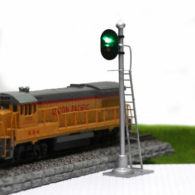 JTD433GR 2PCS  Model Railroad Train Signals 2-Lights Block Signal  O Scale 12V