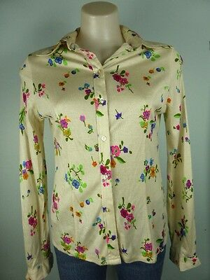 Vintage Retro cream pink red Floral Long sleeve Body shirt blouse sz 8 10