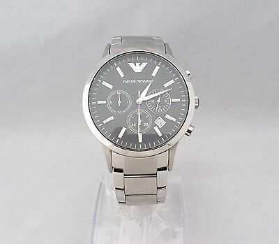 Emporio Armani Ar2434 Mens Chronograph Watch Black Dial Date Stainless Steel