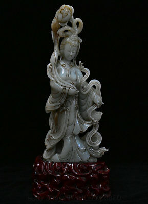 """12.4"""" Chinese Natural Hetian Jade Carving Lotus Beauty Belle Fairy Maiden Statue"""