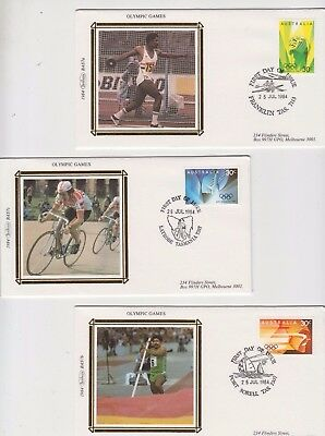 Stamps Australia 1984 Olympic games set of 3 on Benham silk limited edition FDCs