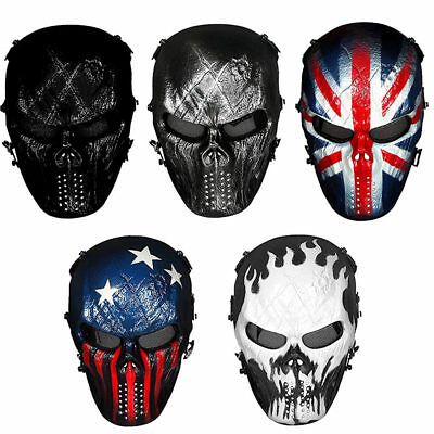 Unisex Skull Ghost Full Face Metal Mesh Eye Mask Cosplay Master Airsoft Mask New