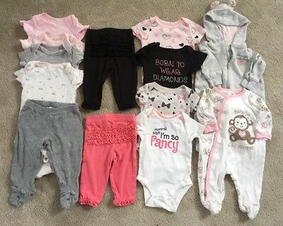 Gently Used 13pc Lot Infant Baby Girl Clothing Size 3mo Newborn Essentials
