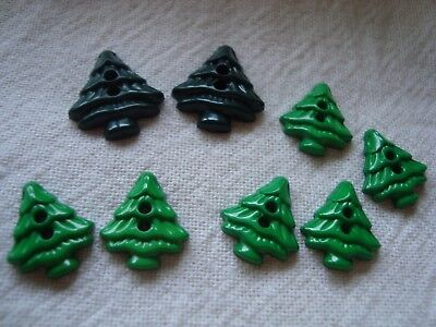 8 Christmas / Pine Tree Realistic Plastic Button