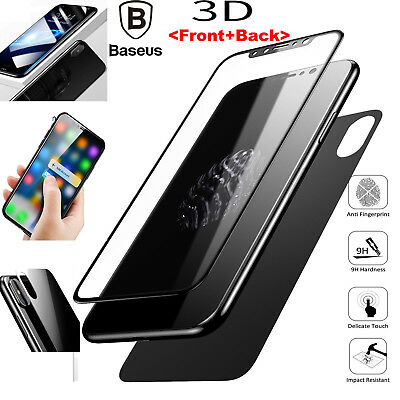 Baseus For iPhone X 360° Front & Back 3D Curved Tempered Glass Screen Protector