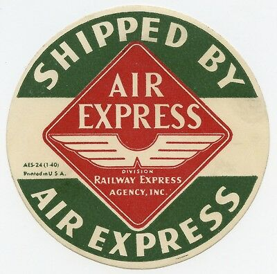 Railway Express Agency Inc. Air Express Vintage Aviation Baggage Label