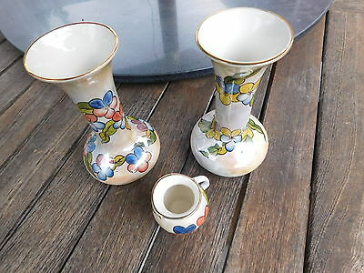 """Camilla James 3 x Vase Oldcourt Ware Hand Painted """"Prototype"""" Red Viola"""