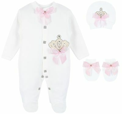Lilax Baby Girl Jewels Crown Layette 3 Piece Gift Set 0-3 Months Pearl Crown