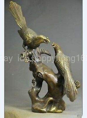 9.41 inch/China's old copper handmade magpies plum statue