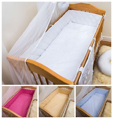 Baby Essentials COT BUMPER STRAIGHT 100% COTTON PADDED FOR BABY FIT COT 120x60 COTBED 140x70