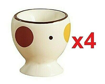 4 Ceramic Dotty Spotty Boiled Egg Cups Breakfast Holder Stand Dining Tableware