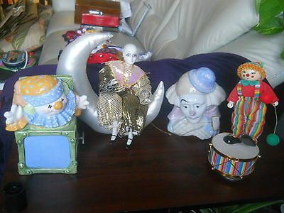 Lot of 4 (3 Vintage Clown Music Boxes) + Head Porcelain Figuine Paul Sebastian