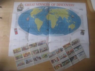 Vintage Ty-Phoo Tea Wallchart / Map Great Voyages of Discovery 1967 Unassembled