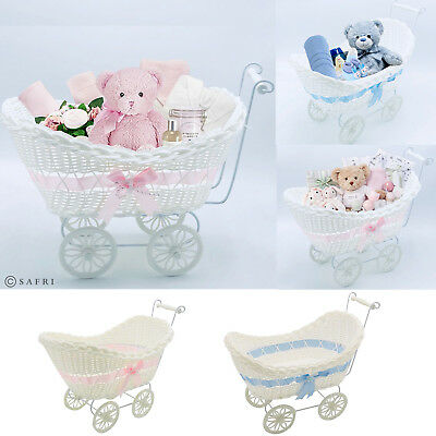 Baby Pram Hamper Wicker Basket New Born Baby Shower Party Gifts Boys Girls