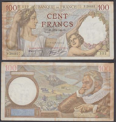 France 100 Francs 1942 (VF) Condition Banknote KM #94 NO PIN-HOLES