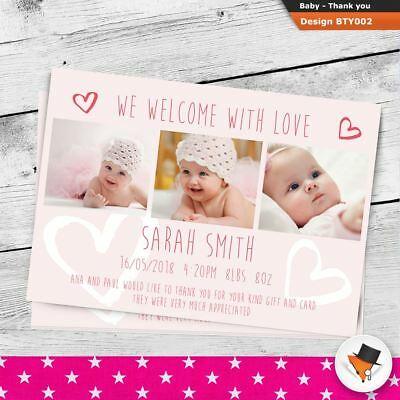 Personalised New Baby Photo Thank You Cards Boy Girl Birth Announcement