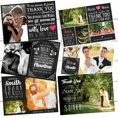 Premium Personalised Wedding Thank You Cards Includes Envelopes and Your Photo