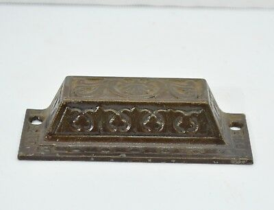 Cast Iron Bin Drawer Pull Handle Furniture Fancy eastlake victorian Design NOS H