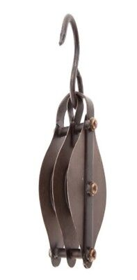 Rope & Double Metal Pulley Antique Vintage Industrial Steampunk Decor