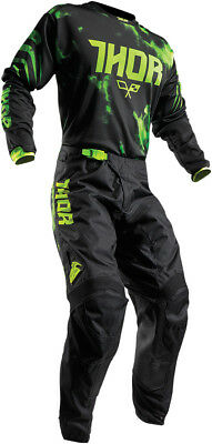 Thor S17 Youth Pulse Race Kit Tydy Flo Green Black Motocross Mx Cheap Boy Junior