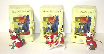 """Lot of 3 Goebel Rosina Wachtmeister Mini 3"""" Cat Christmas Ornaments with Boxes"""