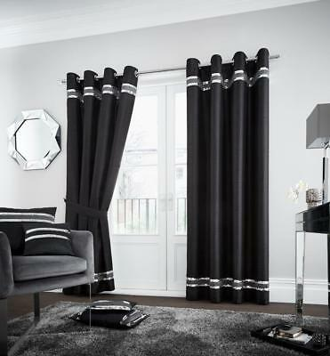 New Black Grey Sequins Eyelet Ring Top Fully Lined Curtains with Tie Backs