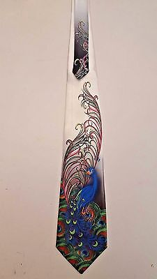 "Steampunk Peacock ""WHITE""  tie Beautiful blues and greens/art nouveau"