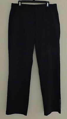 UNDER ARMOUR Mens Sz 34x32 Black Casual Flat Front Golf Athletic Light Pants EXC