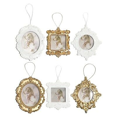 Pack of 6 Gold & White Photo Picture Frame Christmas Tree Pendants Decorations