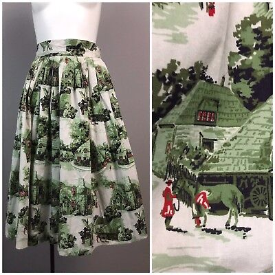 Vintage 1950s Green Cotton Novelty Print Full Skirt with Colony & Horse Motif S