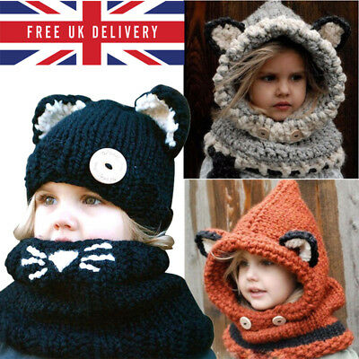 Animal Hat Cartoon Children Kids Beanie Caps Xmas Hood Earmuff Winter Warm Scarf