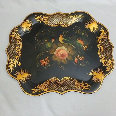 """Vintage Black & Gold Scalloped Edge Tole Ware Tray w/ Rose and Bird, 19"""" by 15"""""""
