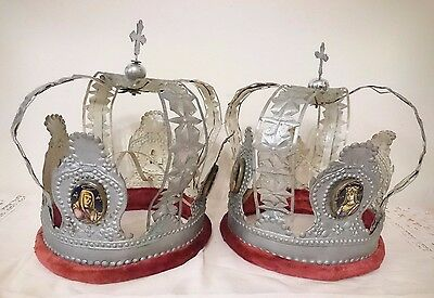 Antique Russian Orthodox Wedding Crowns with Icons Finift 19th century.