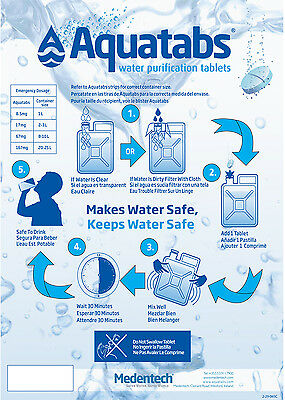WATER PURIFICATION TABLETS 17mg 60 - 2000 pack - W.H.O/UNICEF/BRITISH ARMY/NATO