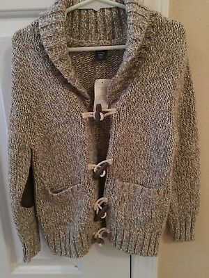 NWT Baby Gap Cotton/wool Blend Sweater 3 Years Elbow Patches, Rope/wood Buttons