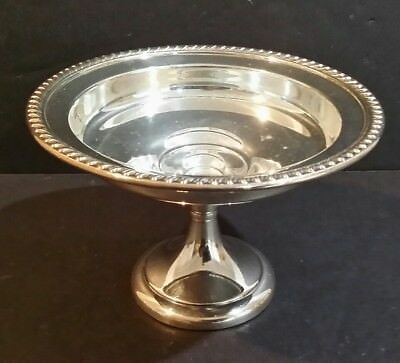 """ART S Co SILVERPLATE PEDESTAL COMPOTE CANDY NUT DISH WITH GADROON BORDER 6.5"""""""