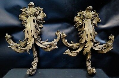 Vintage Antique Pair of French Bronze Wall Sconces