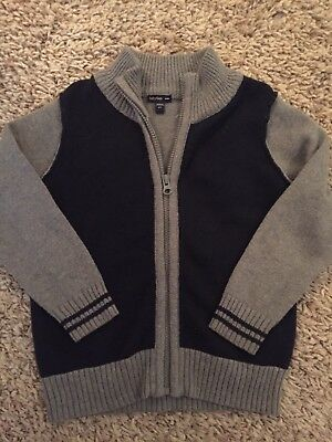 Baby Gap Boys 4t Zip Down Sweater Navy And Gray