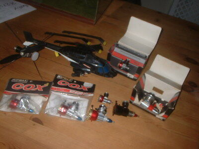 Cox 7 Model Aircraft Engine Collection And Airwolf Helicopter Superb Lot