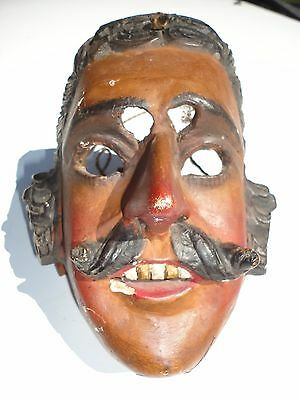 Vintage / Anique Guatemalan Folks Art Hand Carving Wood Mask patron face mask