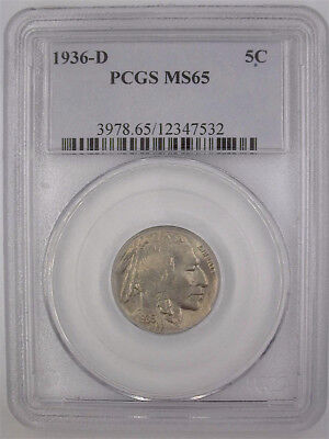 1936-D Buffalo Nickel Pcgs Ms65