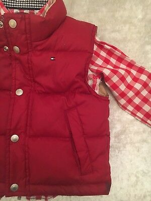 TOMMY HILFIGER Checked Shirt Red Down Filled Bodywarmer 18-24m Designer Boys