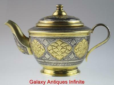 Rare Antique 19th Century Solid Silver Gold Gilded Enamel Teapot