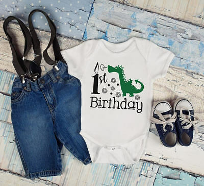 1st Birthday Boys Green Dragon Baby Toddler Clothes Romper Mythical First
