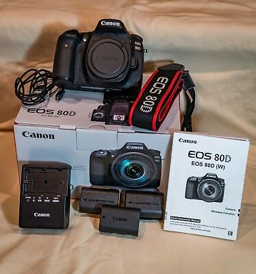 Canon 80D 24.2MP Digital SLR Camera - Black (Body Only) Excellent Condition