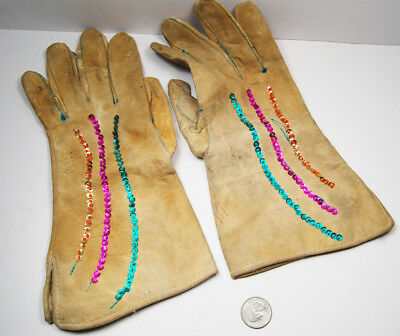 Pair Suede Beaded Gloves 1960 1970 Authentic Native American Estate NOS