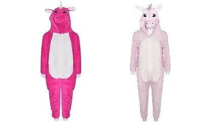 New Girls Pink Unicorn Onesie Fleece Fancy Dress Pyjamas Age 7 8 9 10 11 12 13